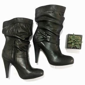 Gianni Bini | Black Slouchy Leather Bow Boots | 8½